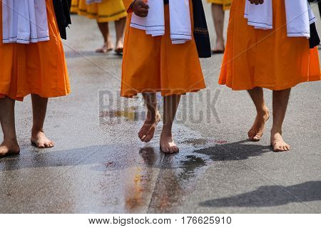 Sikh Soldiers Barefoot March Through The City Street