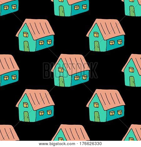 Cartoon home pattern with hand drawn houses. Cute vector colorful home pattern. Seamless sweet doodle home pattern for fabric, wallpapers, wrapping paper, cards and web backgrounds.