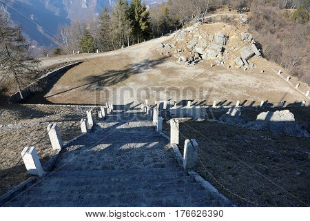 Long staircase of the monument to the fallen soldiers during the First World War in the North ITalia