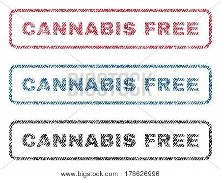Cannabis Free text textile seal stamp watermarks. Blue, red, black fabric vectorized texture. Vector caption inside rounded rectangular shape. Rubber sign with fiber textile structure.
