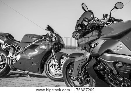 Senta Serbia: March 4th 2017. Close-up of beautiful red Ducati 996s motorcycle photographed outdoor on a dock in Senta besides river Tisa