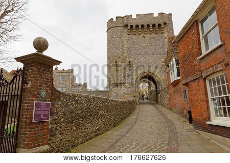 LEWES GREAT BRITAIN - FEB 25 2017: The norman castle in Lewes East Sussex. February 25 2017 in Lewes Great Britain.