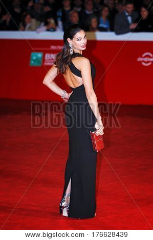 Rome Italy - October 13 2016: Francesca Chillemi walks a red carpet for