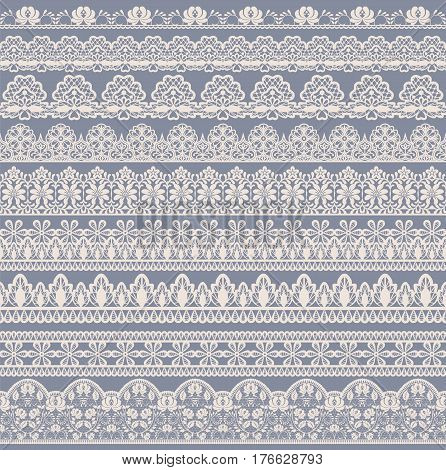 Horizontally seamless floral lace pattern on beige background