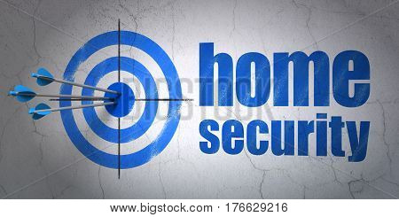 Success security concept: arrows hitting the center of target, Blue Home Security on wall background, 3D rendering