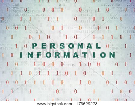 Security concept: Painted green text Personal Information on Digital Data Paper background with Binary Code