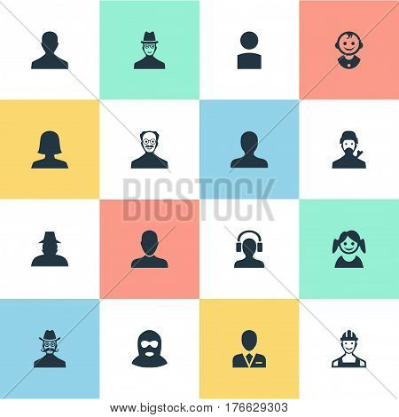 Vector Illustration Set Of Simple Avatar Icons. Elements Whiskers Man, Male User, Mysterious Man And Other Synonyms Whiskers, Worker And Insider.