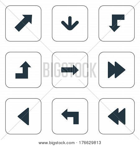 Vector Illustration Set Of Simple Cursor Icons. Elements Left Landmark , Reduction, Indicator Synonyms Decline, Advanced And Upper.