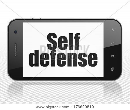 Protection concept: Smartphone with black text Self Defense on display, 3D rendering