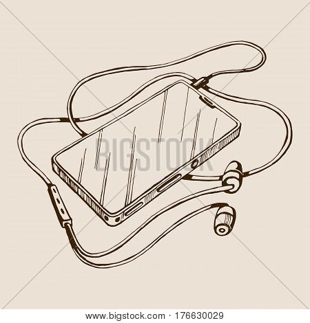 Sketch vector smart phone with headphones and cable. Listen to music. Hand drawn illustration.