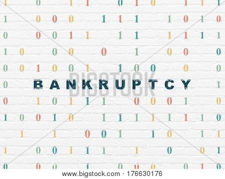 Business concept: Painted blue text Bankruptcy on White Brick wall background with Binary Code