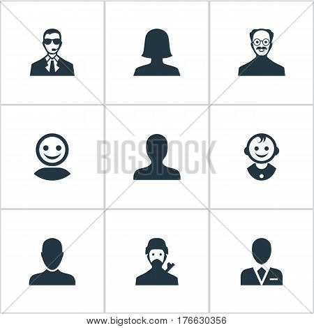 Vector Illustration Set Of Simple Human Icons. Elements Mysterious Man, Internet Profile, Whiskers Man And Other Synonyms Workman, Worker And Profile.
