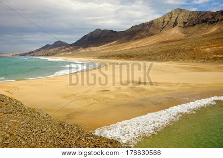 Beautiful view on the beach Cofete on the Canary Island Fuerteventura Spain.