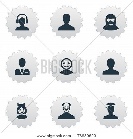 Vector Illustration Set Of Simple Avatar Icons. Elements Portrait, Felon, Male User And Other Synonyms Avatar, Culprit And Girl.