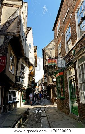 Famous Shambles Street In The City Of York, North Yorkshire, England.