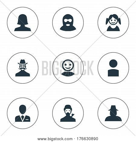 Vector Illustration Set Of Simple Avatar Icons. Elements Little Girl, Woman User, Workman And Other Synonyms Offender, Culprit And Agent.