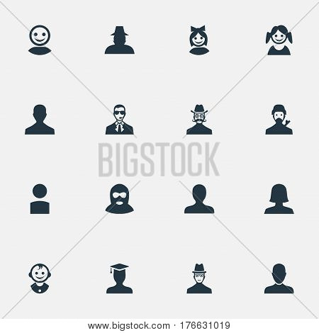 Vector Illustration Set Of Simple Avatar Icons. Elements Mysterious Man, Internet Profile, Woman User And Other Synonyms Girl, Web And User.