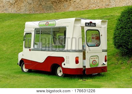 Lincoln Uk - July 1 2016: Thaymar Diary Ice Cream Van. It Has Been Made At Haughton Park Farm Since