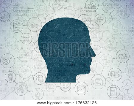 Finance concept: Painted blue Head icon on Digital Data Paper background with Scheme Of Hand Drawn Business Icons