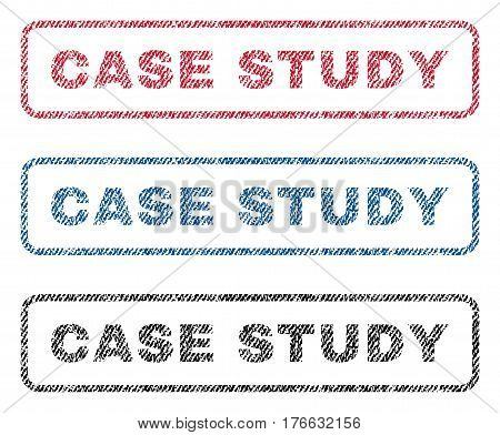 Case Study text textile seal stamp watermarks. Blue, red, black fabric vectorized texture. Vector caption inside rounded rectangular banner. Rubber sticker with fiber textile structure.
