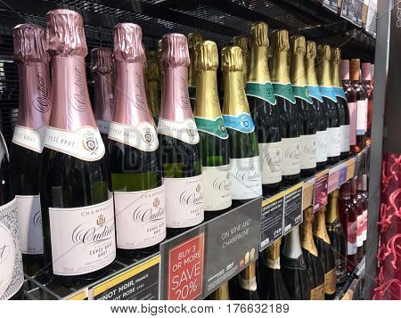 READING - MARCH 12, 2017: Bottles of Champagne and Sparkling Wine for sale at Marks and Spencer (M&S) Simply Food in Lower Earley, Reading, Berkshire, UK.