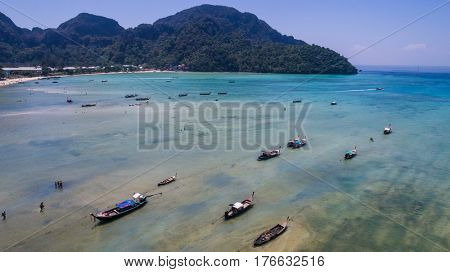 Aerial drone photo of the sea and coastline from iconic tropical beach  of Phi Phi island, Thailand