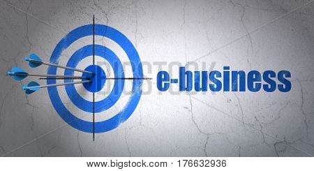 Success finance concept: arrows hitting the center of target, Blue E-business on wall background, 3D rendering