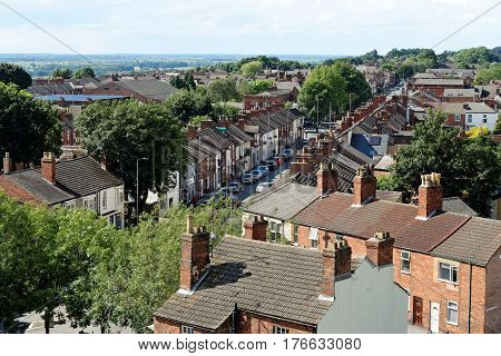 Lincoln Uk - July 1 2016: Aerial View Of The Old City Of Lincoln A Cathedral City And The County Tow