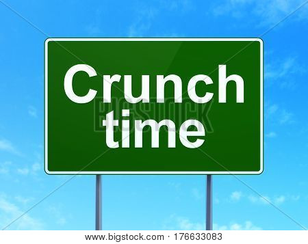 Business concept: Crunch Time on green road highway sign, clear blue sky background, 3D rendering