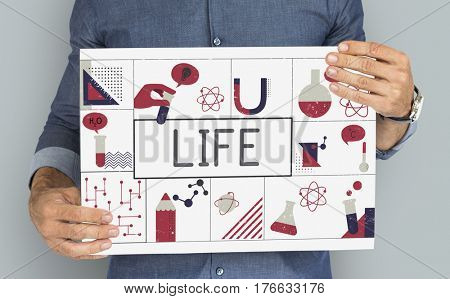 Man holding banner of biochemistry study scietific research poster