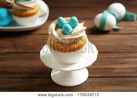 Delicious Easter cupcake on cake stand