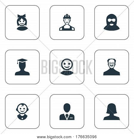 Vector Illustration Set Of Simple Human Icons. Elements Young Shaver, Proletarian, Felon And Other Synonyms User, Face And Culprit.