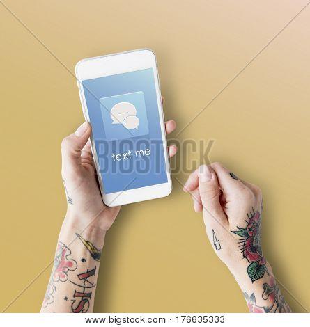 Hands Mobile Phone Chat Conversation Bubble Graphic