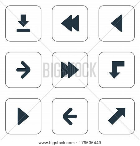 Vector Illustration Set Of Simple Arrows Icons. Elements Left Direction, Indicator, Let Down And Other Synonyms Forward, Advanced And Download.