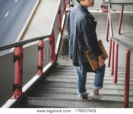 Young man commuter daily life routine lifestyle