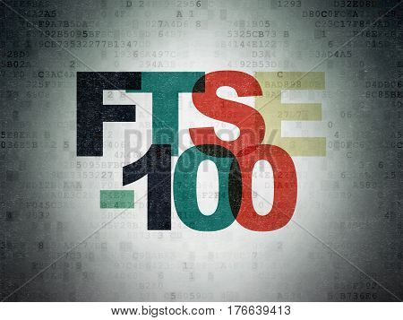 Stock market indexes concept: Painted multicolor text FTSE-100 on Digital Data Paper background
