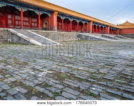Beijing, China - Oct 30, 2016: The complex architectural design of a row of old palace residential outhouse inside the Forbidden City (Gu Gong, Palace Museum).