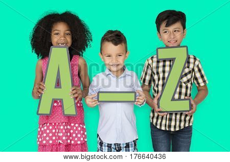 Little Children Holding A-Z Paper craft