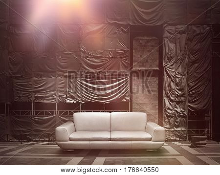 Dramatic stage construction site scaffold tarpaulin canvas background