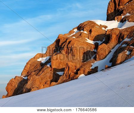 Sunrise Mountains In Snow