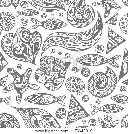 Seamless travel marine underwater life texture with ornamental waves, shells and fishes for paper and textile design