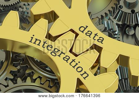data integration concept on the gearwheels 3D rendering