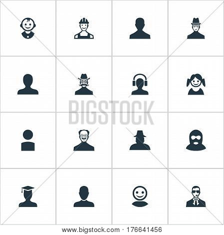 Vector Illustration Set Of Simple Member Icons. Elements Portrait, Male User, Young Shaver And Other Synonyms Headphone, Proletarian And Security.