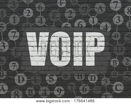 Web development concept: Painted white text VOIP on Black Brick wall background with Scheme Of Hexadecimal Code