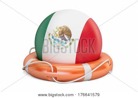 Lifebelt with Mexico flag safe help and protect concept. 3D rendering
