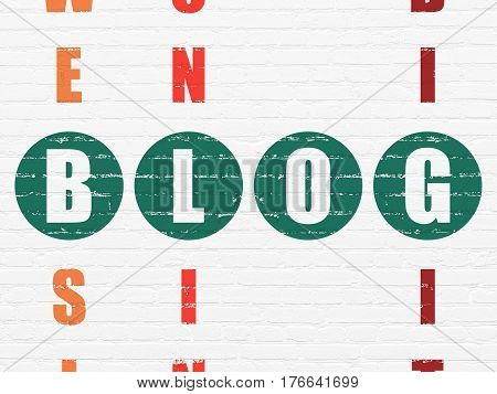 Web design concept: Painted green word Blog in solving Crossword Puzzle