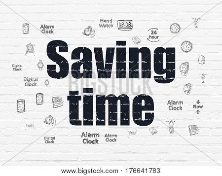 Time concept: Painted black text Saving Time on White Brick wall background with  Hand Drawing Time Icons