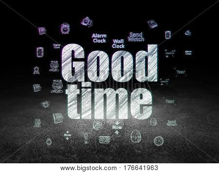 Timeline concept: Glowing text Good Time,  Hand Drawing Time Icons in grunge dark room with Dirty Floor, black background