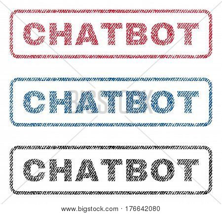 Chatbot text textile seal stamp watermarks. Blue, red, black fabric vectorized texture. Vector tag inside rounded rectangular banner. Rubber emblem with fiber textile structure.