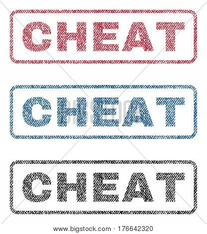 Cheat text textile seal stamp watermarks. Blue, red, black fabric vectorized texture. Vector tag inside rounded rectangular banner. Rubber emblem with fiber textile structure.